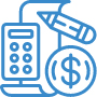 calculator pencil paper money icon